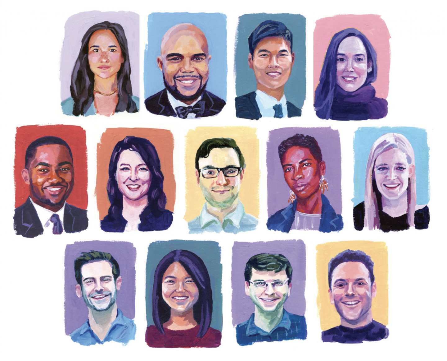 Illustrations of the 13 alumni featured in this article