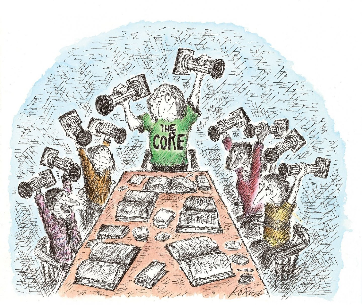 Cartoon drawing of several persons seated, and one person standing, at a a table with open books. All are holding miniature pillars overhead, and the person standing has the words 'The Core' written on the individual's shirt.