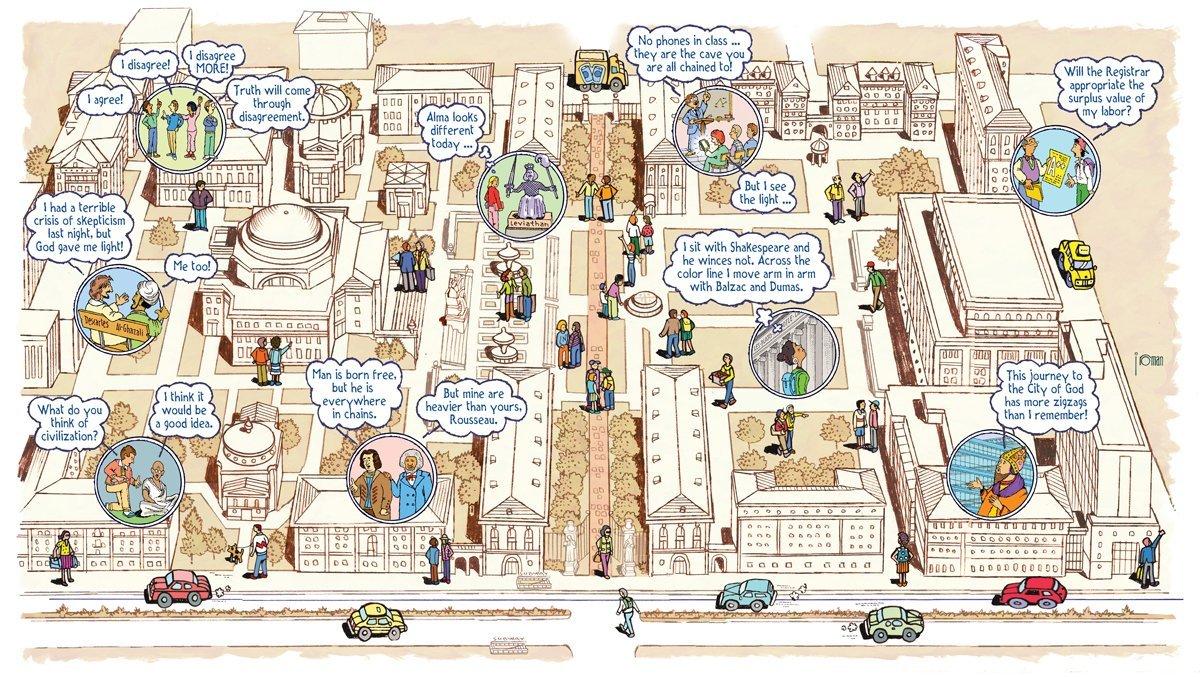 Comic honoring the Contemporary Civilization Syllabus