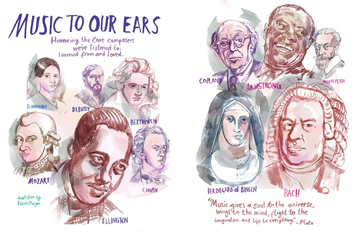 An illustration depicting artists and composers who are featured in the Core Curriculum