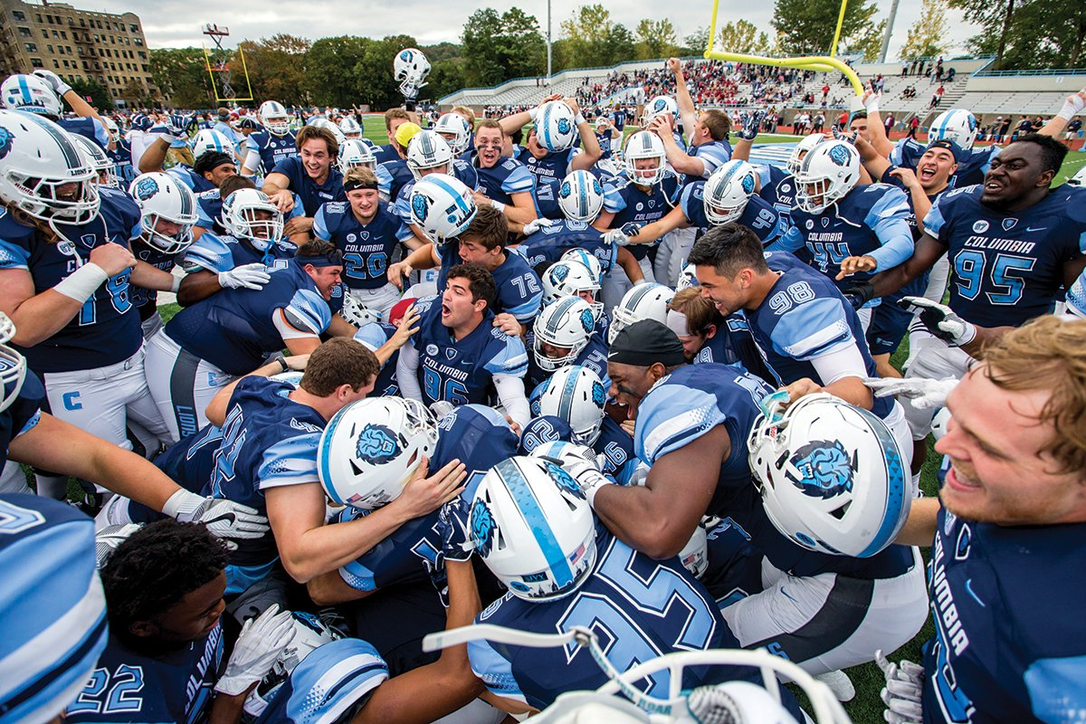 Photo of Columbia University football team celebrating