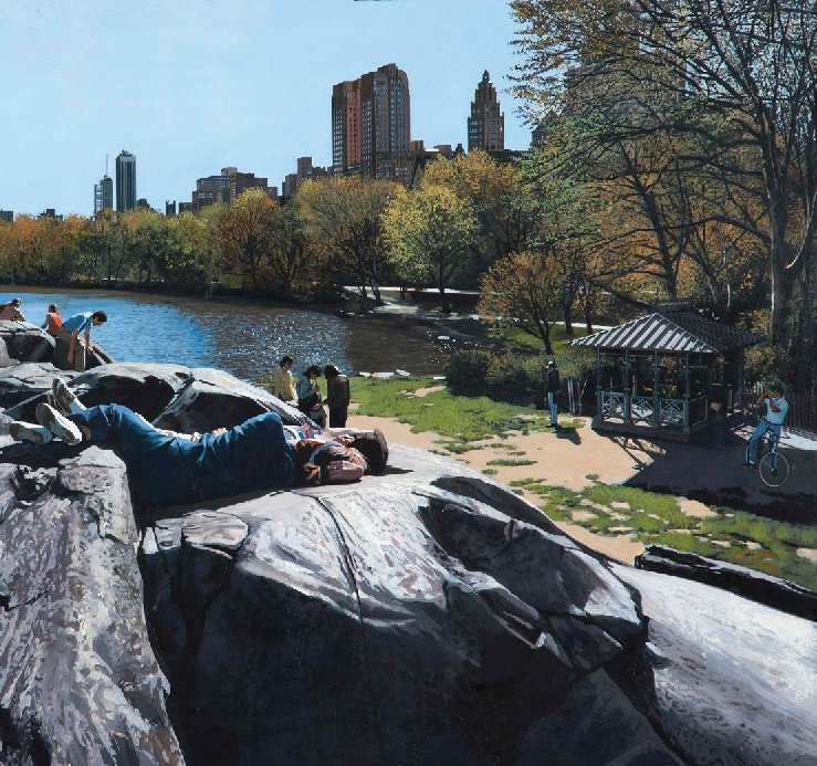 Richard Estes, Sunday Afternoon in the Park, 1989; Oil on canvas; Private collection (pp. 166–167)