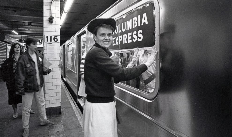 Boarding a special nonstop 1 train to Lower Manhattan/ Trinity Church on April 10, 1987