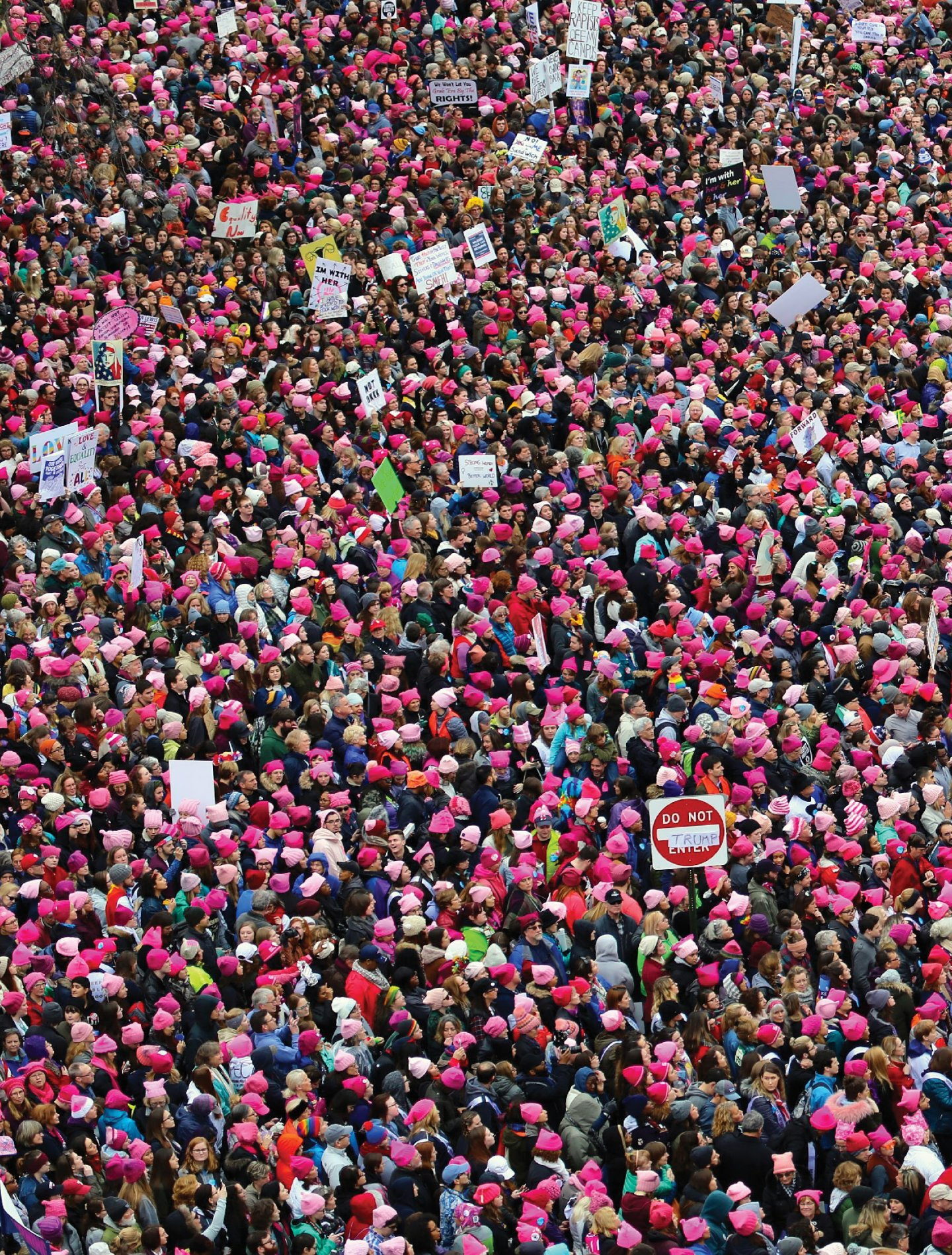An overhead shot of the Women's March