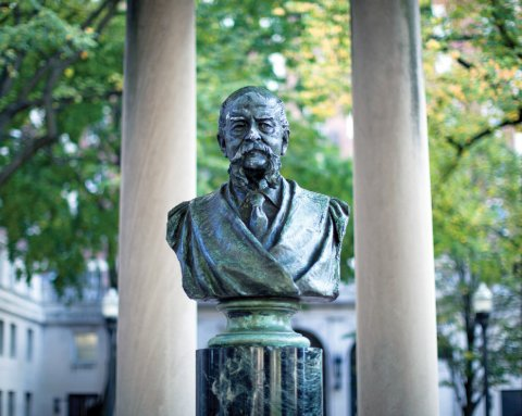 Located in the center of Van Am Quad is a bust of John Howard Van Amringe.