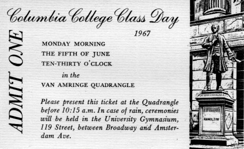 A ticket to Class Day 1967