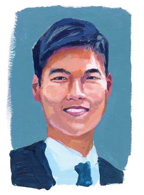 Illustration of Kevin Tyan '16