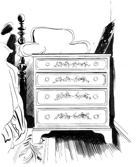 line drawing of a dresser