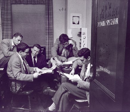 A group of young men in the Spectator office in 1954