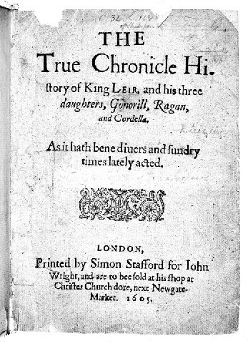 Title page of the Quarto of King Leir (1605)