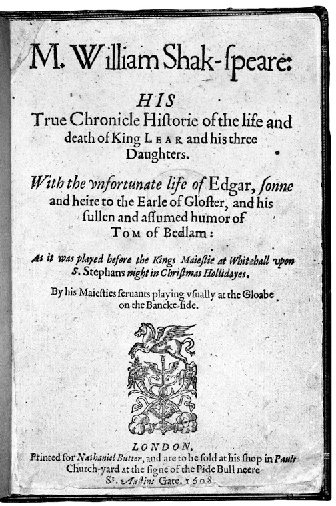 Title page of the Quarto of King Lear (1608).