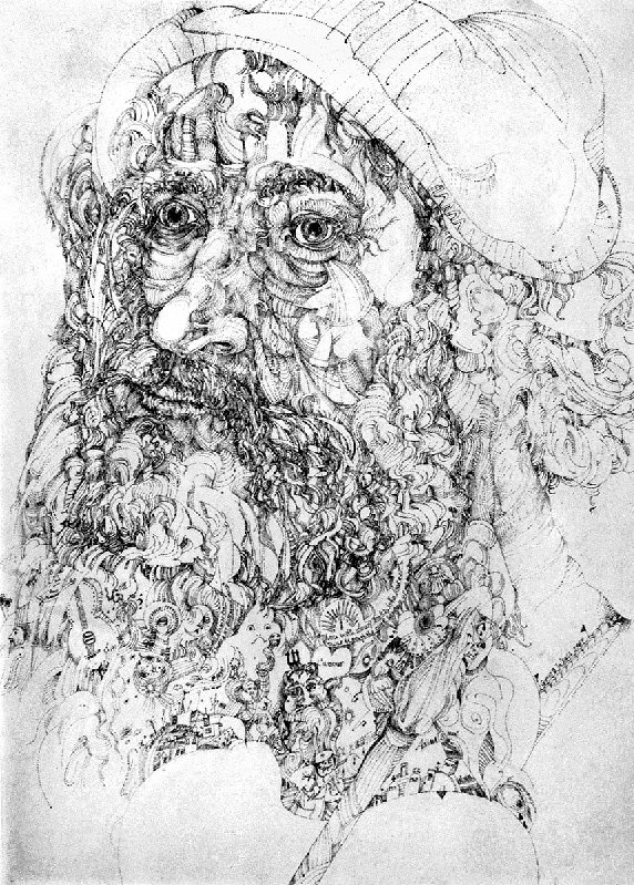 A pen drawing of a face