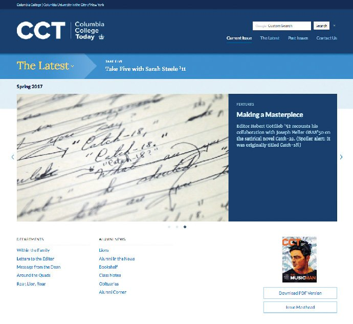 The home page of Columbia College Today's website.