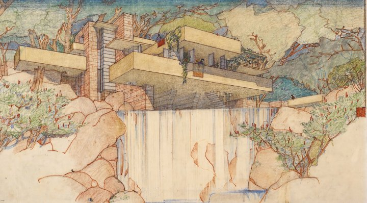 A drawing of Frank Lloyd Wright's Fallingwater (Kaufmann House).