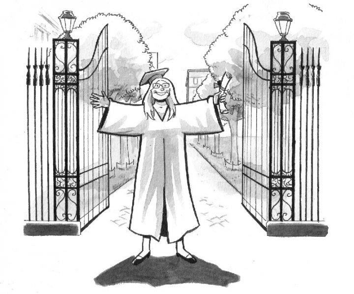 Cartoon of a new graduate at campus gates, beaming