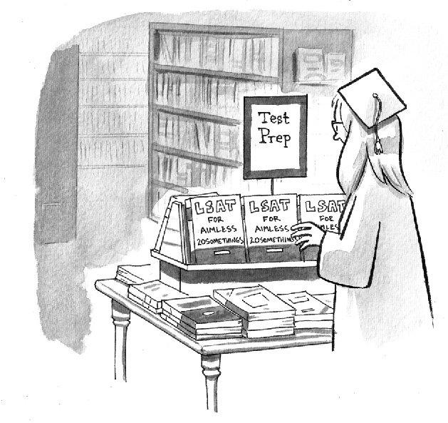 Graduate looking at LSAT prep books