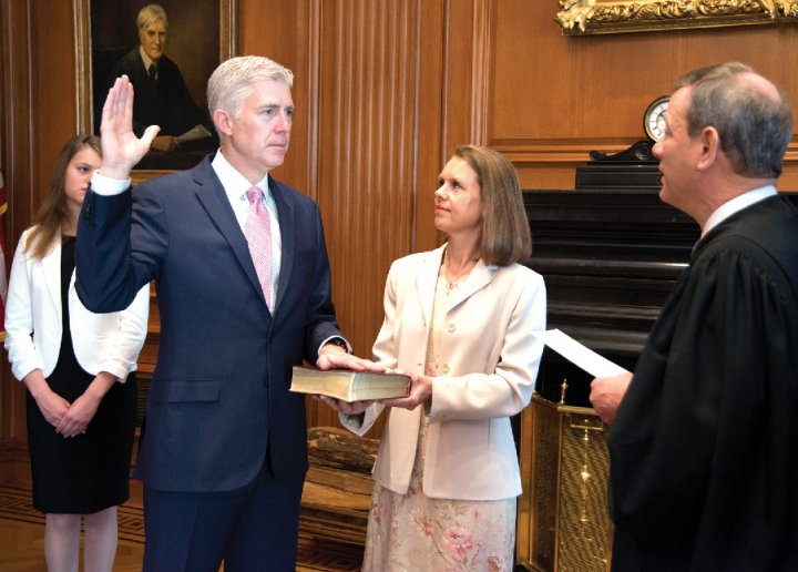 Neil Gorsuch '88, newly confirmed to the Supreme Court, is sworn into office.