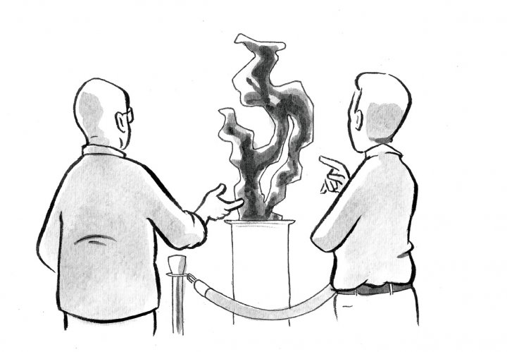 Illustration of two people evaluating a piece of art