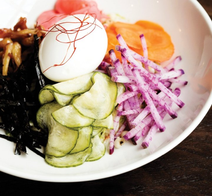 Dish containing Ann Kim's Bibim Grain salad.