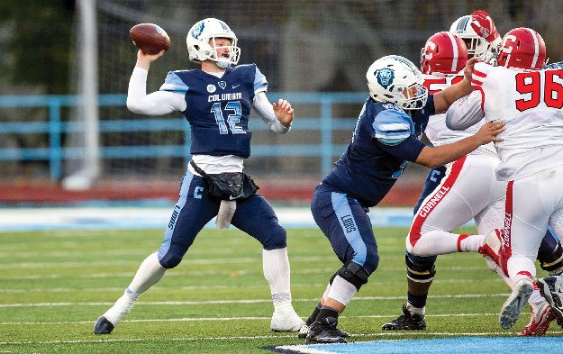 A Columbia Lions football player prepares to throw the football.