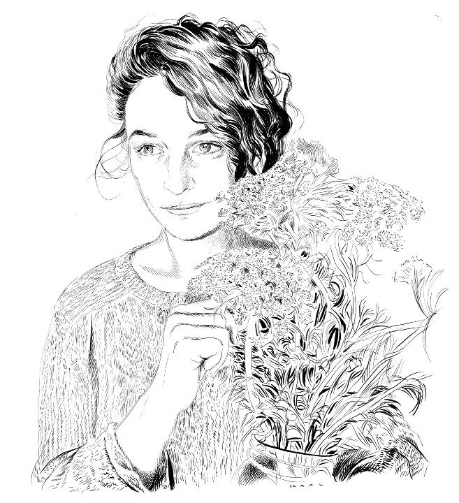Line drawing of a woman holding a vase of flowers