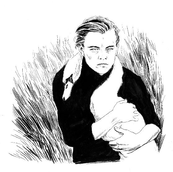 line drawing of Leonardo DiCaprio and a swan
