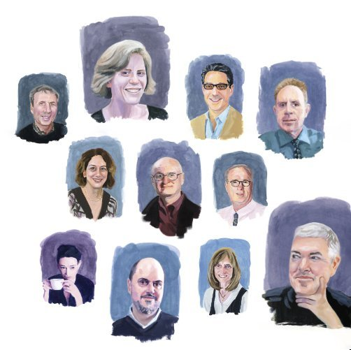 """Illustration of professors featured in CCT's Spring 2020 cover story """"Voices of Wisdom"""""""