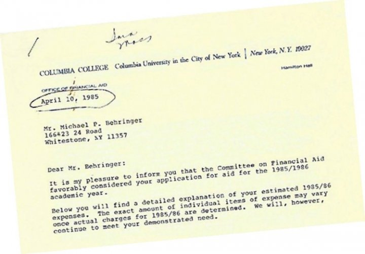 Picture of financial award letter dated April 10, 1985
