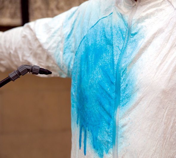 A bright blue stain on a white shirt