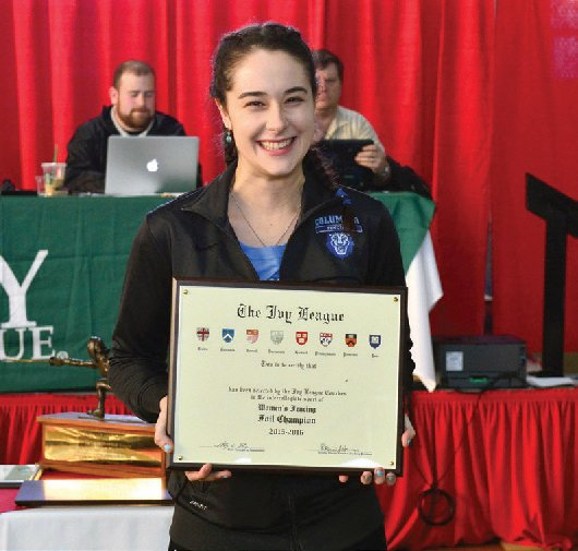 Jackie Dubrovich '16 won all 18 of her matches to dominate the foil competition at the Ivy League Championship.