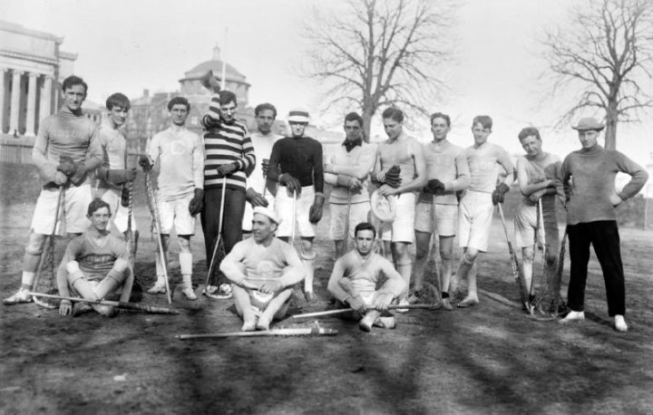 The 1908 men's lacrosse team.