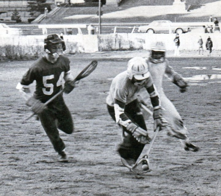 Practicing on South Field in spring 1980