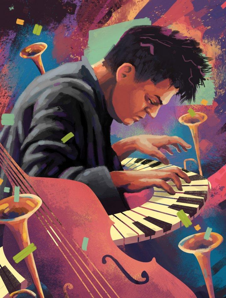 A drawing of a man at a piano