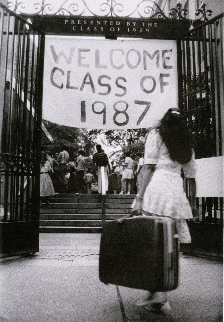 A sign hung at the 116th Street gate welcoming the Class of 1987