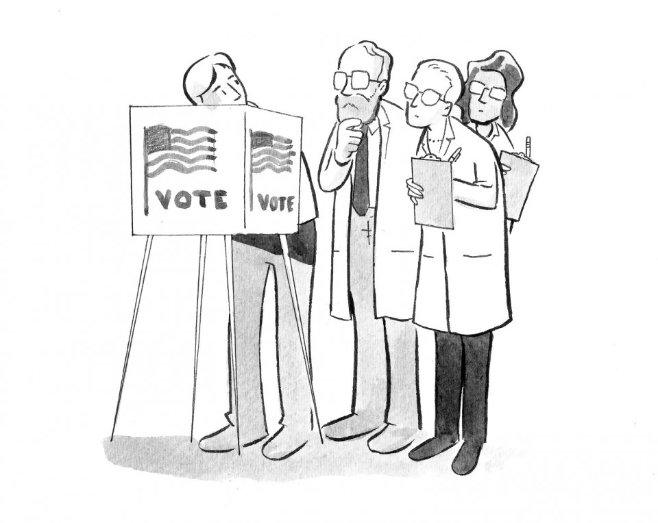 Illustration of researchers observing a voter