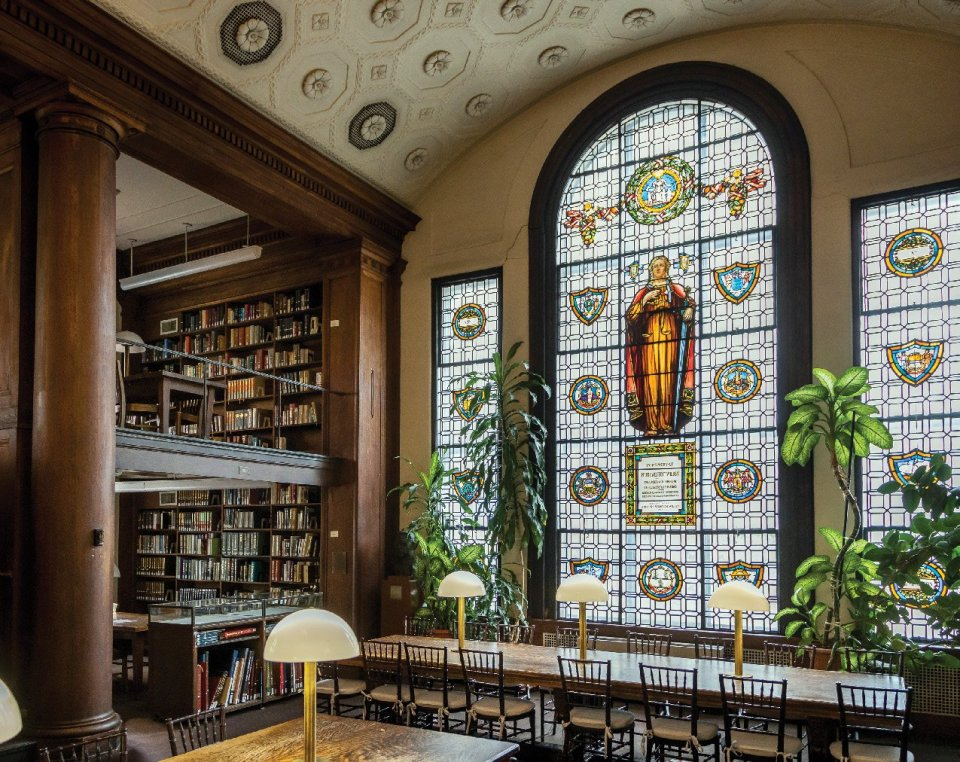The stained-glass windows were donated by Anna Chesebrough Wildey in 1913 in memory of her husband, Pierre Westcott Wildey CC 1860, LAW 1863.