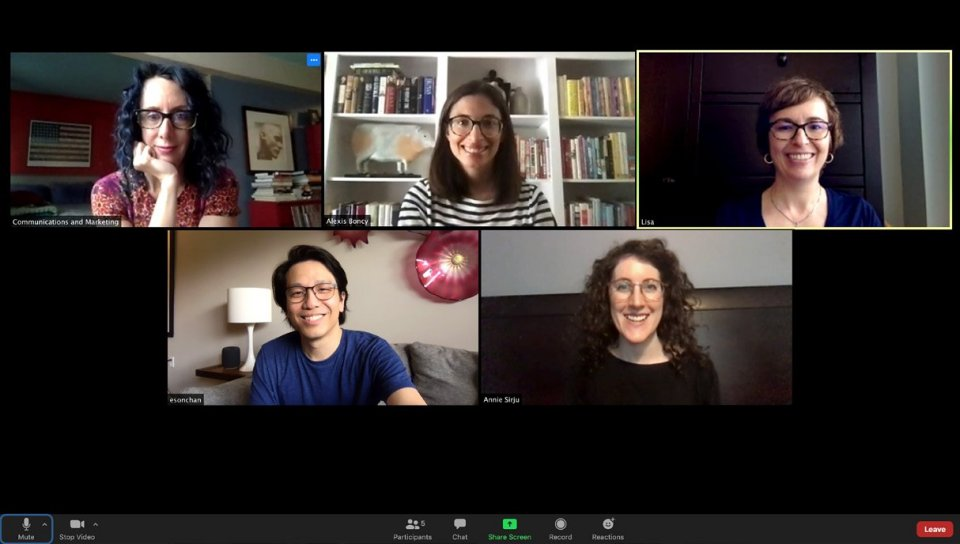 Screen capture of an online video meeting with 5 individuals