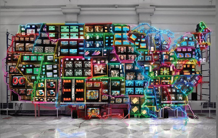 Image of artwork called Electronic Superhighway by Nam June Paik