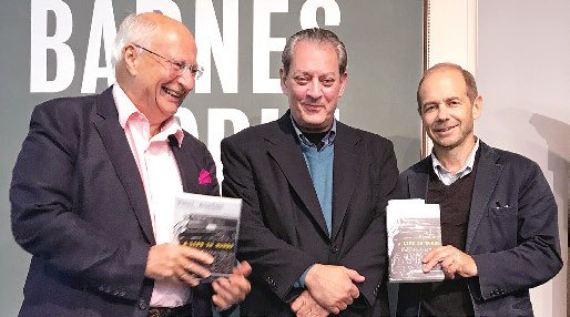 Photo of Michael Wood, Paul Auster '69 and Dan Simon '79