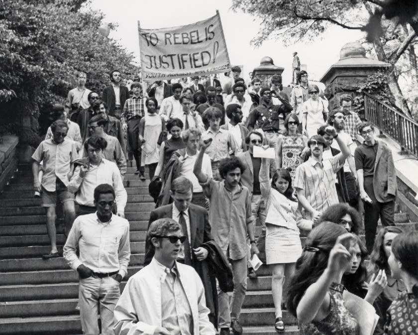 Student protesters entering Morningside Park in April 1968.