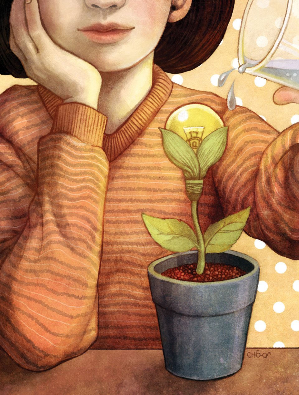 Illustration of person watering a plant that flowers into a lightbulb