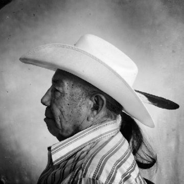 A man wearing a Stetson in profile