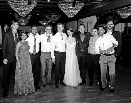 black-and-white photo of a wedding party