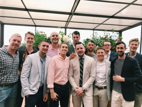Photo of men at a wedding party