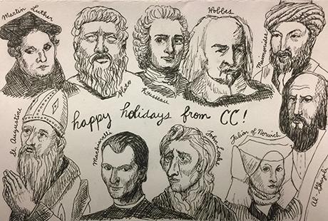 A drawing of Martin Luther, Plato, Jean-Jacques Rousseau, Thomas Hobbes, Maimonides, Abu Hamid Al-Ghazali, Julian of Norwich, John Locke, Niccolo Machiavelli and Augustine of Hippo
