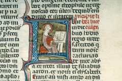 Luke Writing the Gospel.: Illuminated Manuscript. French. Late 13th c. CE Location: Princton Library. ArtStor: Illuminated Manuscript Collection