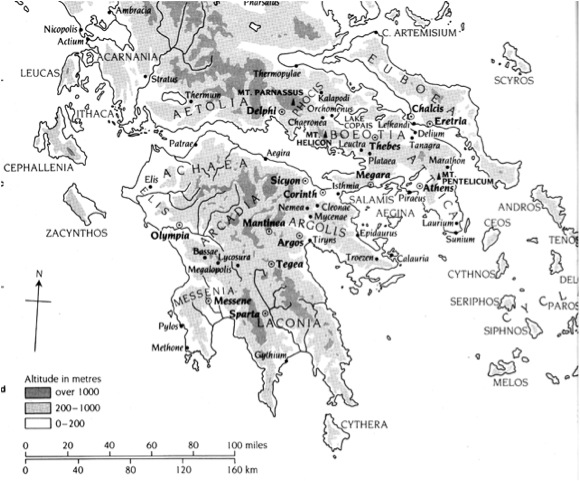 Map Of Southern Greece Showing Argos Delphi And Athens