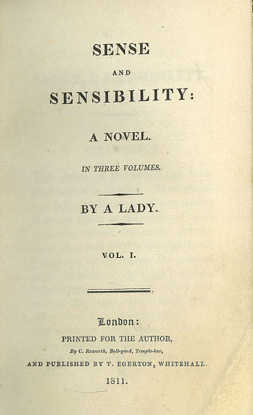sense and sensibility  title page of first edition  by