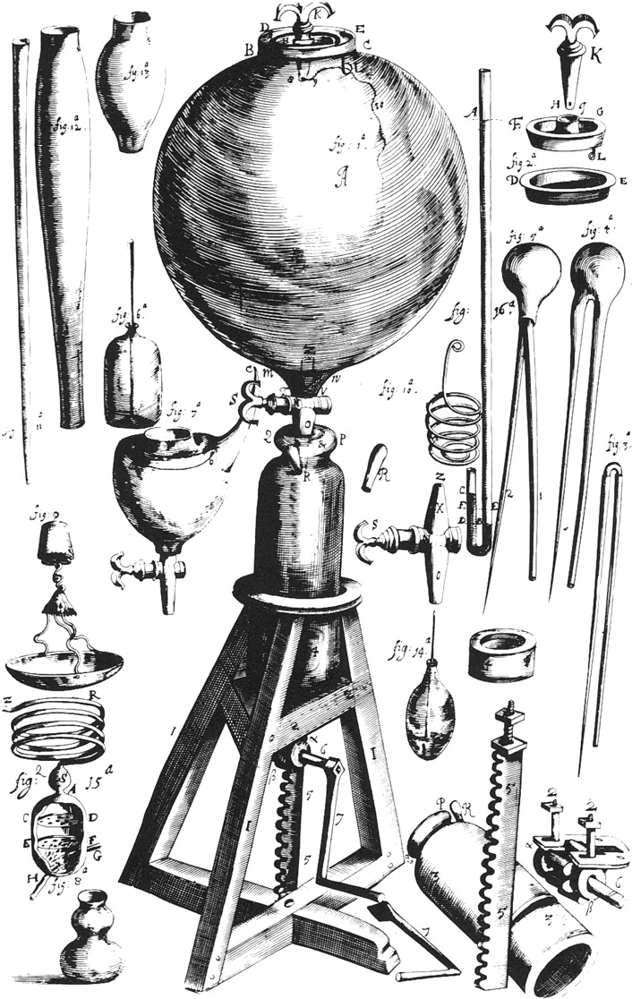 Drawing of Robert Boyle's Air Pump, 1661.