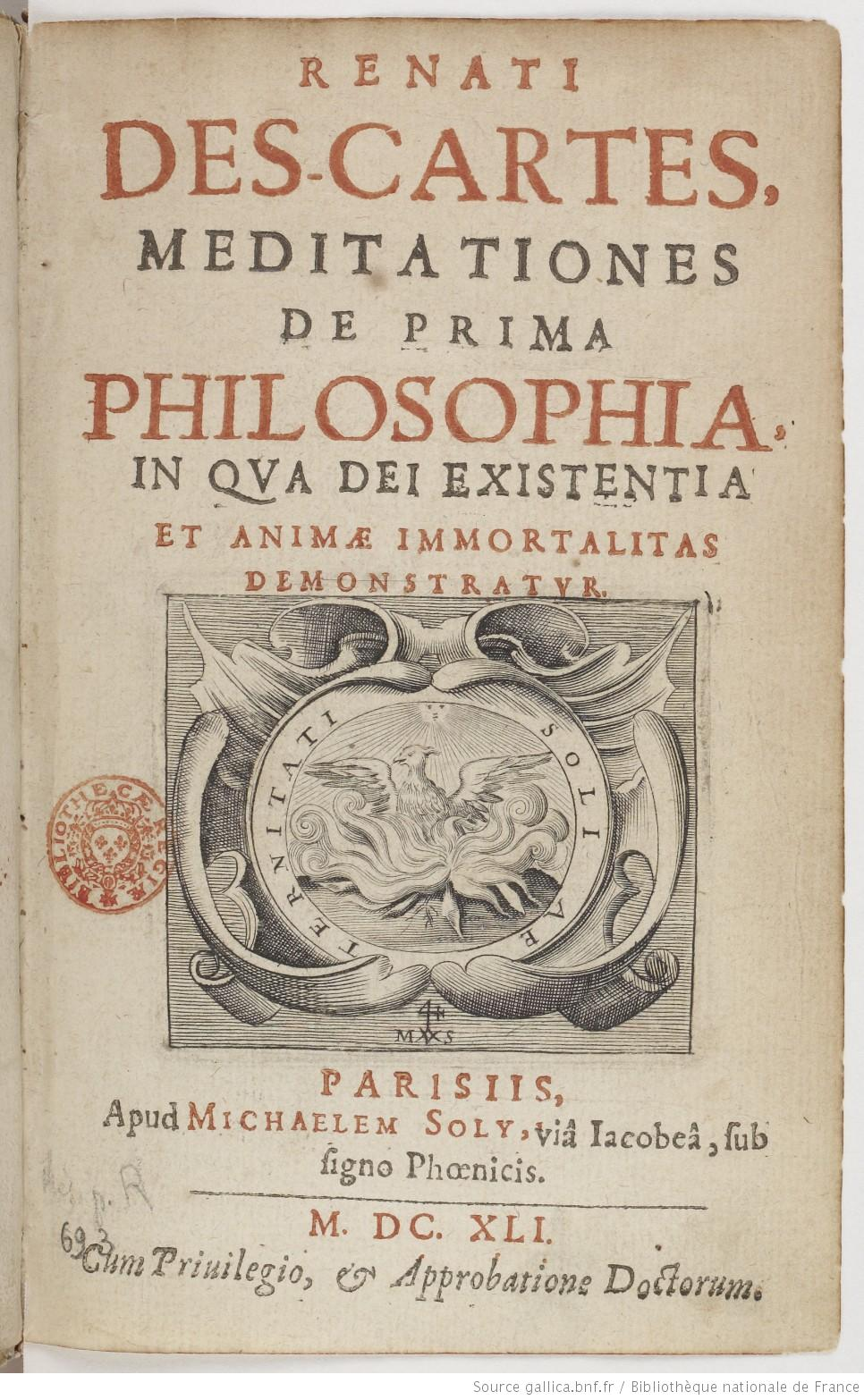 original title page for the first latin edition of the  original title page for the first latin edition of the meditationes de prima philosophiaby rene descartes 1641